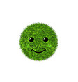 green grass circle field 3d face smile smiley vector image