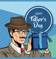 happy fathers day pop art card vector image vector image