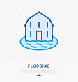 house flooding thin line icon vector image