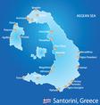 Island of Santorini in Greece map vector image vector image