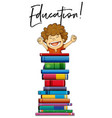 little boy and books with phrase education vector image vector image