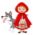 Little Red Riding Hood meeting with a wolf vector image vector image