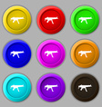 machine gun icon sign symbol on nine round vector image vector image