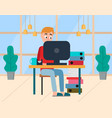 male working with computer home workplace vector image