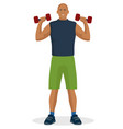 man doing workout using dumbbell vector image vector image