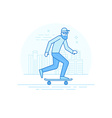 Man riding skateboard - in simple trendy style vector image