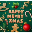 Merry Christmas greeting card with cookies vector image vector image