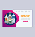 party time with wine bottles and champagne glasses vector image