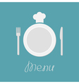 Plate fork knife and chefs hat Menu card Flat vector image vector image