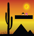 pyramids in the desert and kids vector image vector image