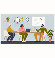 scene at office men and woman sit taking part vector image