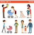 set of people with children and dog vector image vector image