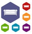 sofa icons set vector image vector image