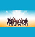 summer themed banner with party people dancing vector image vector image