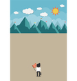 The man will climb up to top of the mountain vector image vector image