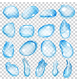 Transparent blue drops vector image vector image