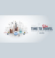 travel to usa time to travel banner with vector image