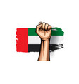 united arab emirates flag and hand on white vector image