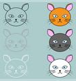 cat face different colour vector image