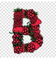 Letter B made from red berries sketch for your vector image