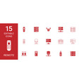 15 remote icons vector image vector image