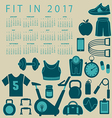 2017 Fitness calendar vector image vector image