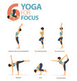 6 yoga poses for workout in yoga for focus vector image vector image