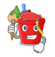 artist beach bucket shape with sand cartoon vector image