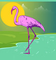 beautiful pink flamingo on shore lake vector image