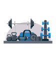 bodybuilding equipment flat design icons vector image