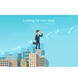 Businessman looking through spyglass vector image vector image