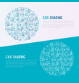 car sharing concept in circle with thin line icons vector image vector image