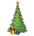 cartoon christmas tree vector image vector image