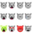 Cat smile emoji set Emoticon icon flat style vector image vector image