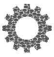 cogwheel mosaic of mail envelope icons vector image