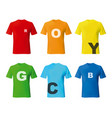color man t-short set template mockup for design vector image