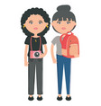 cute girls with camera and bag characters vector image