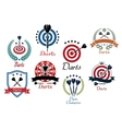 darts sporting emblems symbols and icons vector image vector image