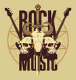 emblem with skulls sword guitars and pentagram vector image vector image