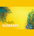 flat-lay blue green palm branches over yellow vector image