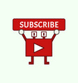 funny mascot youtube channel subscribe button vector image vector image