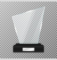 glass trophy award on black stand realistic glass vector image vector image