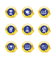 Gold circle and check mark with education icons vector image vector image