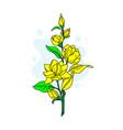 graphical flower green flower white flower vector image vector image