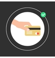 hand holding golden credit card in white circle vector image vector image