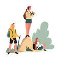 hikers backpacks and binocular hiking outdoor vector image vector image