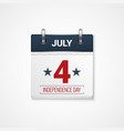 july fourth calendar design background vector image