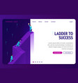 ladder to success isometric landing page banner vector image