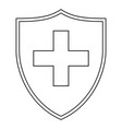 line art black and white shield with medical cross vector image vector image