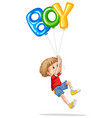 little boy holding balloons for boy vector image vector image